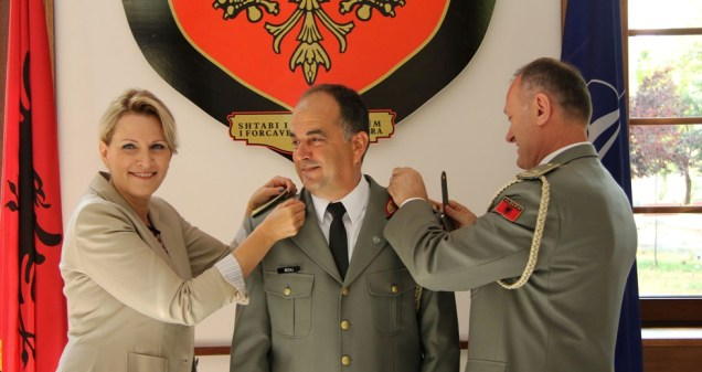 At the promotion ceremony of Colonel Bajram Begaj as