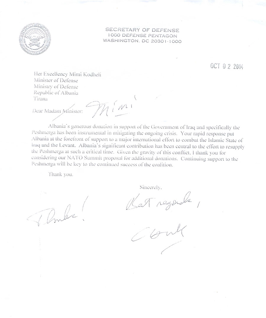 Us secretary of defence mr chuck hagel thank you letter to at the end of his letter secretary hagel expressed united states willingness to continue the strategic cooperation with albania and strengthen cooperation spiritdancerdesigns Gallery